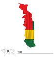 Map of Togo with flag vector image vector image