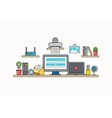 modern thin line flat design of workplace vector image vector image