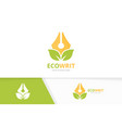 pen and leaf logo combination write and vector image vector image