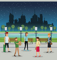 people walking night street urban background vector image