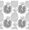 pineapples and pomegranates black and white vector image vector image