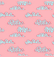 pink sky with blue clouds seamless ink pattern vector image