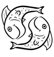 Pisces isolated on white vector image