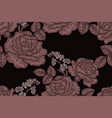 seamless pattern with vintage rose flowers vector image