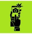 Selfie phone photo in green vector image vector image