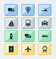 shipment icons set collection of van airship vector image vector image