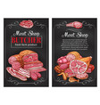 sketch sausages and meat for butcher shop vector image vector image