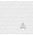 sketch yacht in ocean - striped wavy vector image