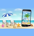 smartphone capture photo beach with relax chair vector image vector image