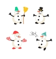 Snowman cartoon icon set vector image
