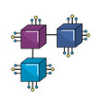squares digital connections with circuits vector image vector image