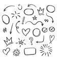super set different hand drawn element collection vector image