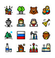 thin line russia icons set vector image