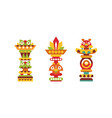 totem pole as monumental carving with figures vector image vector image