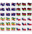 Turks and Caicos Malawi Ethiopia Set of 36 flags vector image vector image