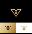 v letter monogram logo gold line web icon vector image