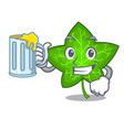 with juice fresh green ivy leaf mascot cartoon vector image