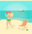 woman at the beach - cartoon people character vector image vector image