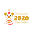 year rat 2020 chinese zodiac christmas vector image vector image