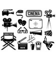 set of cinema icons and design elements isolated vector image