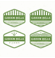 Green Hills from the farm product grunge rubber vector image