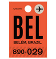 belem airport luggage tag vector image vector image