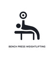 black bench press weightlifting isolated icon