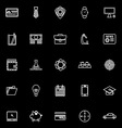 Businessman item line icons on black background vector image vector image