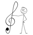 cartoon man holding big musical clef or g-clef vector image