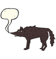 cartoon wolf with speech bubble vector image vector image