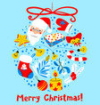 christmas card with decoration ball winter vector image vector image