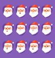 christmas santa claus emotion faces vector image