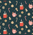 cute hand drawn seamless pattern with cocoa vector image vector image