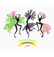 dancing women in carnival costumes feathers vector image vector image