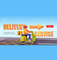 delivery service banner with man on scooter vector image vector image