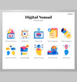 digital nomad icons flat pack vector image