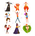 flat set with people in bright carnival vector image vector image