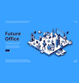 future office isometric landing human and robots vector image
