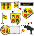 glossy icons with flag of hainaut belgium vector image vector image