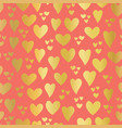 gold foil hearts on coral seamless pattern vector image
