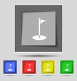 Golf icon sign on original five colored buttons vector image vector image