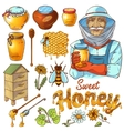 Hand Drawn Honey Icon Set vector image