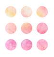 hand drawn watercolor circles pink and yellow vector image vector image