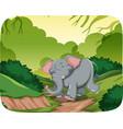 happy elephant in jungle scene vector image