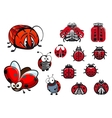 Ladybugs ladybirds and beetles cartoon insects vector image vector image
