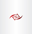 left right red arrow logo icon vector image vector image