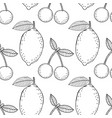 lemons and cherries black and white vector image vector image