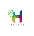 letter h design with rainbow shattered blocks vector image vector image