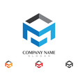 m letter logo template design vector image vector image