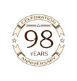 ninety eight years anniversary celebration logo vector image vector image